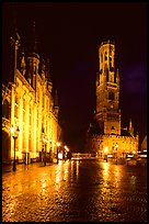 Provinciall Hof and belfry at night. Bruges, Belgium (color)