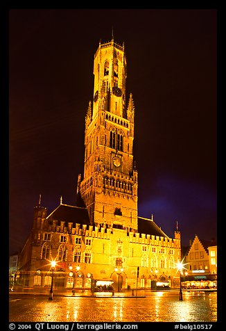 Halletoren belfry at night. Bruges, Belgium (color)