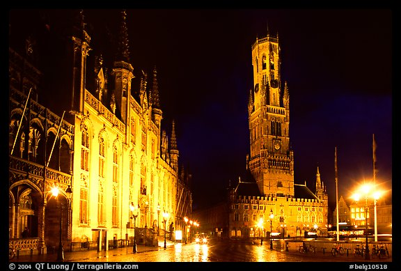 Provinciall Hof and belfort at night. Bruges, Belgium (color)