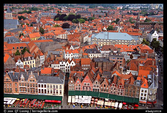 View of the town from the belfry. Bruges, Belgium (color)