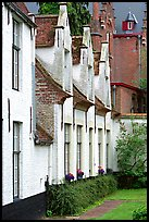 Whitewashed houses in the Beguinage. Bruges, Belgium (color)