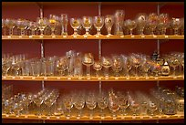 Large variety of glasses used to drink specific beers. Bruges, Belgium ( color)