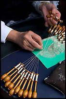 Hands of a lacemaker at work. Bruges, Belgium ( color)