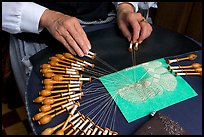 Lacemaker's hand at work. Bruges, Belgium