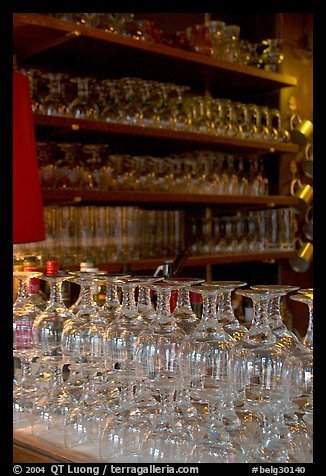 Glasses of various shapes used to drink beer. Brussels, Belgium (color)