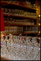 Glasses of various shapes used to drink beer. Brussels, Belgium ( color)