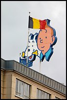 Tintin, Milou, and Belgian flag. Brussels, Belgium