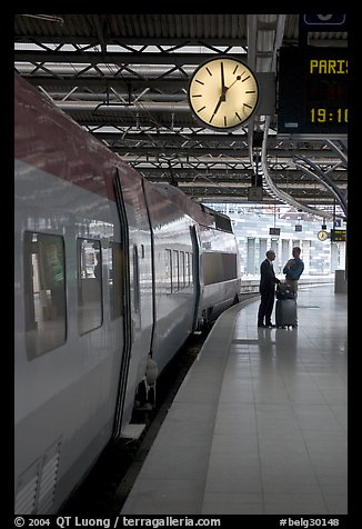 High speed train in the station. Brussels, Belgium (color)