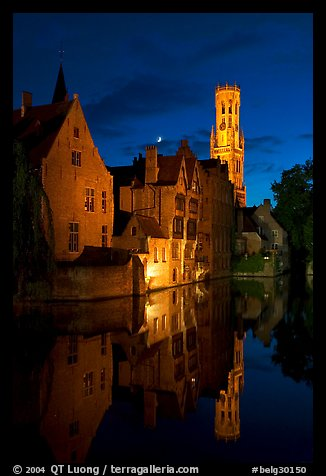 Old houses and belfry Quai des Rosaires, night. Bruges, Belgium