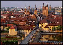 Alte Mainbrucke bridge and Neumunsterkirche church. Germany ( color)