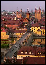 Alte Mainbrucke and Neumunsterkirche. Wurzburg, Bavaria, Germany (color)