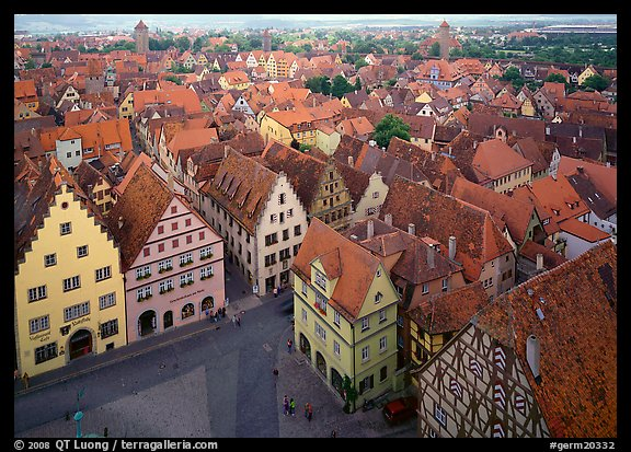 Panoramic view of the city. Rothenburg ob der Tauber, Bavaria, Germany (color)