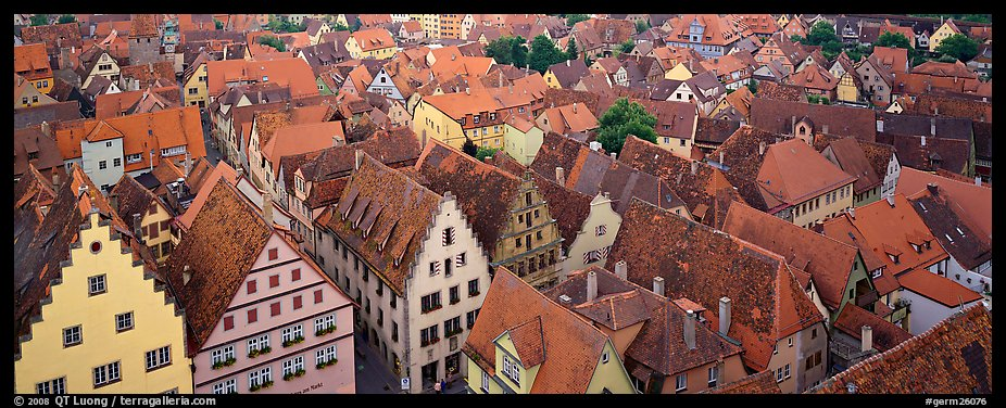 Rooftops of Rothenburg medieval town. Rothenburg ob der Tauber, Bavaria, Germany (color)