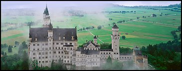 Neuschwanstein castle and fog. Bavaria, Germany