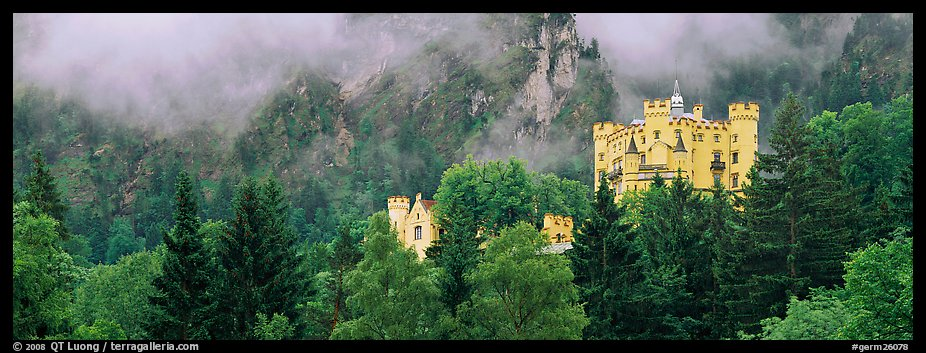Hohenschwangau castle on forested hillside. Bavaria, Germany