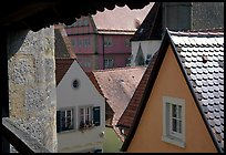 Rooftops seen from the Ramparts. Rothenburg ob der Tauber, Bavaria, Germany