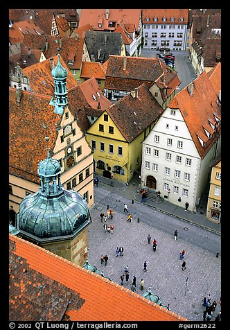 Marktplatz seen from the Rathaus tower. Rothenburg ob der Tauber, Bavaria, Germany