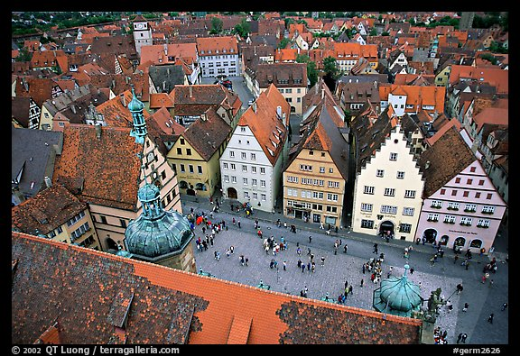 Marktplatz seen from the Rathaus tower. Rothenburg ob der Tauber, Bavaria, Germany (color)