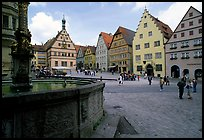 Fountain on Marktplatz. Rothenburg ob der Tauber, Bavaria, Germany (color)