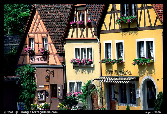 Row of colorful houses. Rothenburg ob der Tauber, Bavaria, Germany (color)