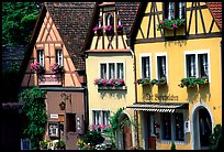 Row of colorful houses. Rothenburg ob der Tauber, Bavaria, Germany