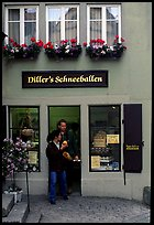 Pastry store specializing Schneeballen, a local specialty. Rothenburg ob der Tauber, Bavaria, Germany (color)