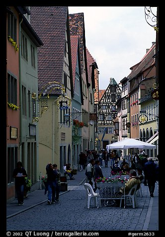 Lively street. Rothenburg ob der Tauber, Bavaria, Germany (color)