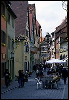 Lively street. Rothenburg ob der Tauber, Bavaria, Germany ( color)