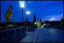 Alte Mainbrucke (bridge) at night. Wurzburg, Bavaria, Germany (color)