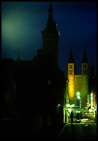 Rathaus and Neumunsterkirche seen fron Alte Mainbrucke (bridge) at night. Wurzburg, Bavaria, Germany (color)