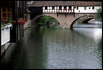 Timbered houses built accross the river. Nurnberg, Bavaria, Germany ( color)