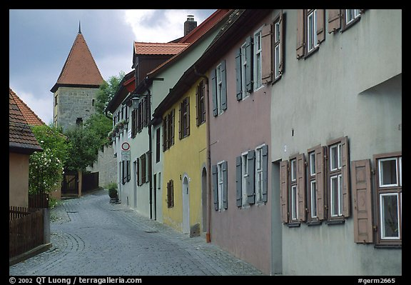 Row of houses,  Dinkelsbuhl. Bavaria, Germany (color)