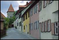 Row of houses,  Dinkelsbuhl. Bavaria, Germany ( color)