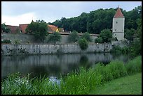 Duck pond and rampart walls, Dinkelsbuhl. Bavaria, Germany