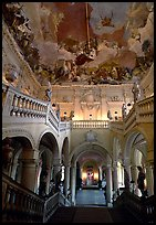 Main staircase and fresco painted by Tiepolo. Wurzburg, Bavaria, Germany (color)
