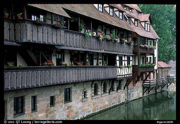 Timbered houses on the canal. Nurnberg, Bavaria, Germany (color)