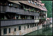 Timbered houses on the canal. Nurnberg, Bavaria, Germany ( color)