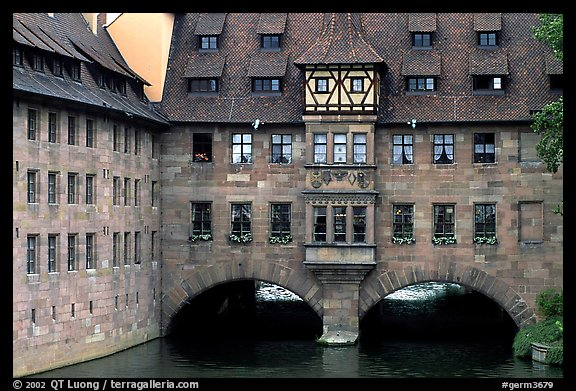 House built accross the river. Nurnberg, Bavaria, Germany (color)
