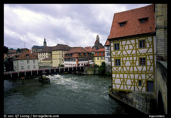 Houses and canal, Bamberg. Bavaria, Germany (color)