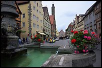 Fountain and street. Rothenburg ob der Tauber, Bavaria, Germany ( color)