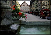 Fountain and street. Rothenburg ob der Tauber, Bavaria, Germany