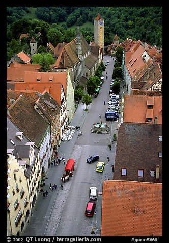 House rooftops and Street seen from the Rathaus tower. Rothenburg ob der Tauber, Bavaria, Germany