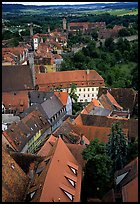Rooftops seen from the Rathaus tower. Rothenburg ob der Tauber, Bavaria, Germany