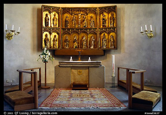 Interior of 12th century Church of Gamla Uppsala. Uppland, Sweden