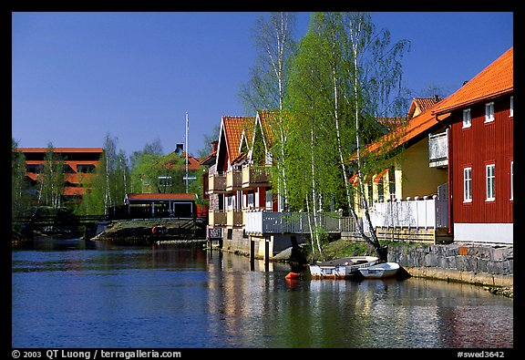 Riverside houses in Fallun. Central Sweden (color)