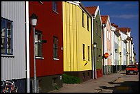 Row of colorful houses. Gotaland, Sweden