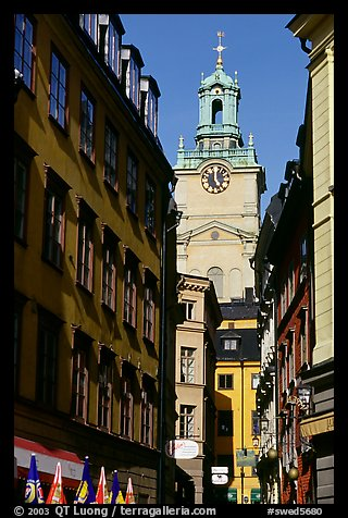 Street and church in Gamla Stan. Stockholm, Sweden (color)