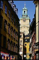 Street and church in Gamla Stan. Stockholm, Sweden ( color)