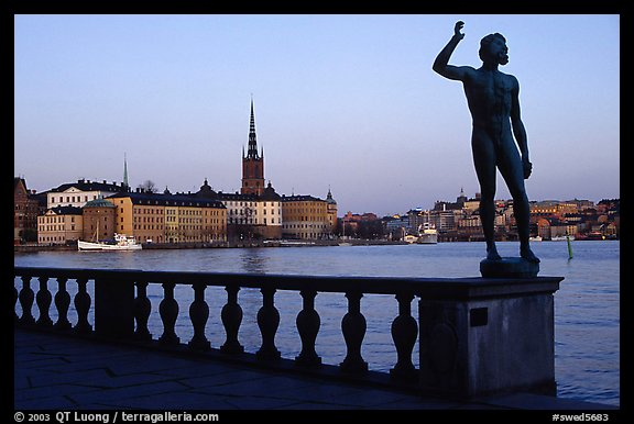 View of Gamla Stan with Riddarholmskyrkan from the Stadshuset. Stockholm, Sweden (color)