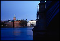 Bridge on Riddarfjarden and Gamla Stan, midnight twilight. Stockholm, Sweden ( color)